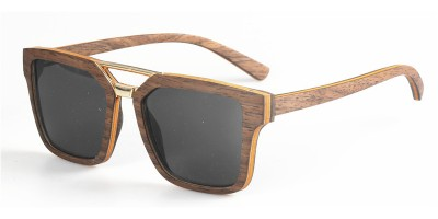 Layers Nature Walnut Wood Metal Bridge Sunglasses IBW-MS001