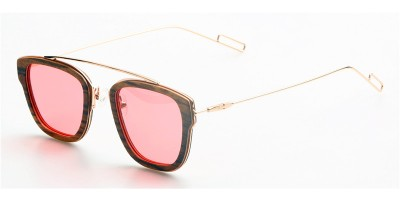 Thin Zebra Wood Sunglasses Metal Temple IBW-GS015C