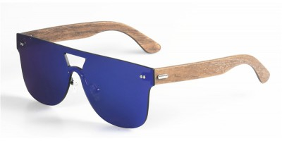 Rimless One Piece Lens Sport Sunglasses Wooden Arms IBW-019A