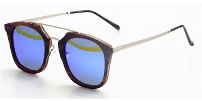 Thin Ebony Wood Sunglasses Metal Temple IBW-GS016B