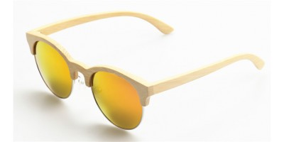 Nature Bamboo Sunglasses Half Rim Metal Ring Glasses Sun IBW-GS009A