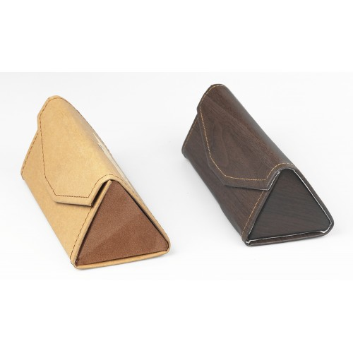 Cardboard  / Leather Made Tri-angle Eyeglasses Case Foldable IBA-JH001
