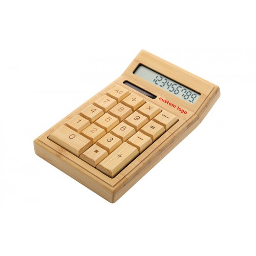Solar Power Bamboo Calculator Multifunctional OEM Logo Free IBW-BT001