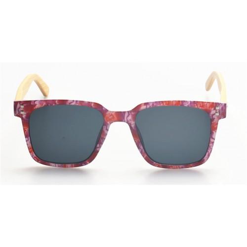 Ultra Thin Newest Design Multi Plastic Frame Nature Bamboo Temples Sunglasses IBW-CN001B