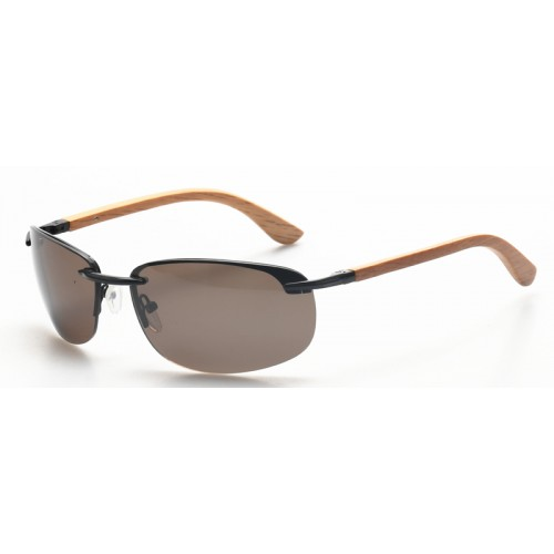 Sport Sunglasses Metal Frame Polarized Wooden Temples IBM-JY006A